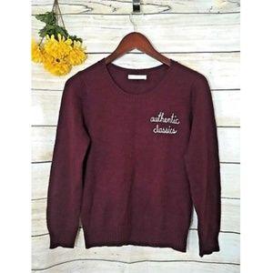 Lowrys Farm Maroon Red Crewneck Graphic Sweater